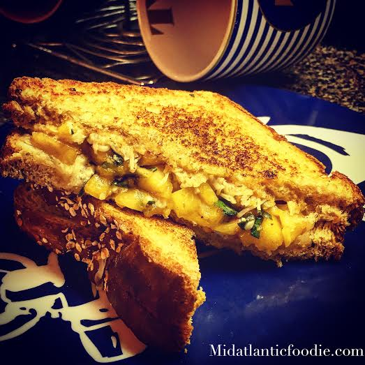 Peach Bruschetta Blue Grilled Cheese